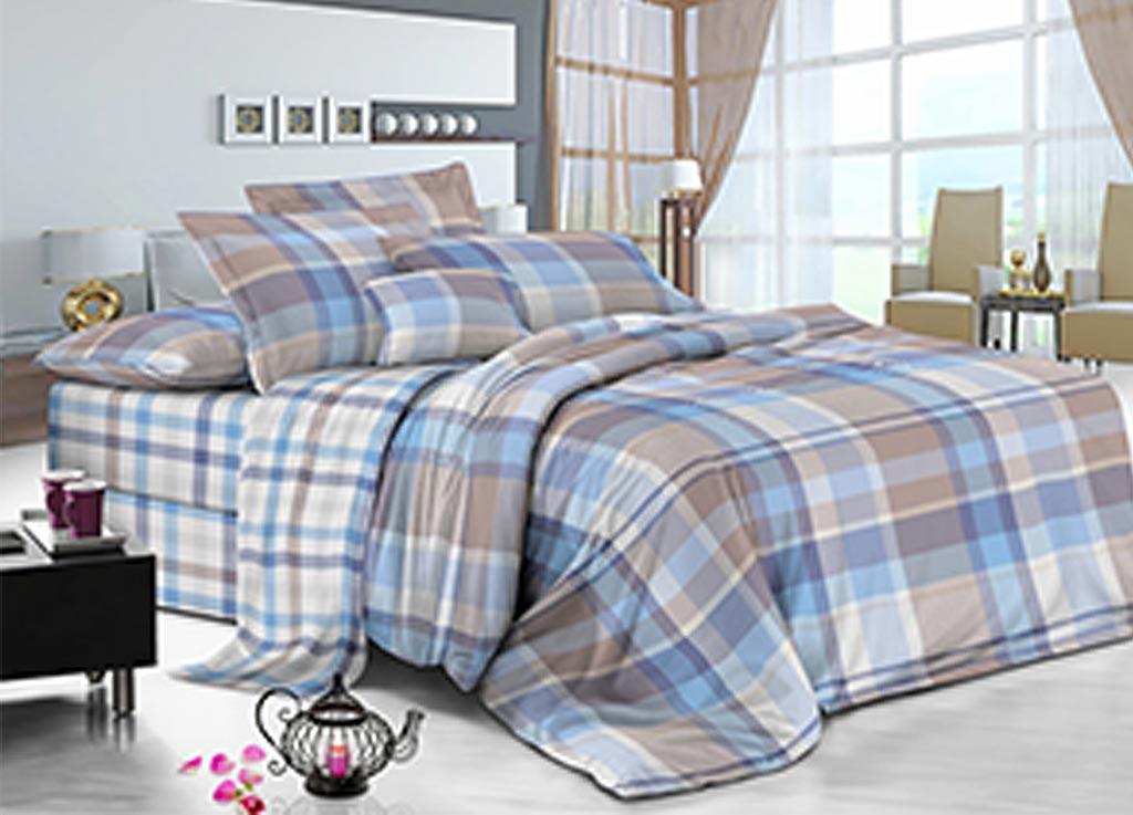 Комплект белья Primavera Клетка, 1,5-спальный, наволочки 70x70, цвет: синий89870
