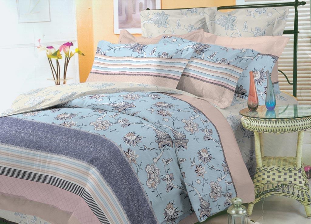 Комплект белья Primavera Восточная сказка, семейный, наволочки 70x70, 50x70, цвет: голубой89949