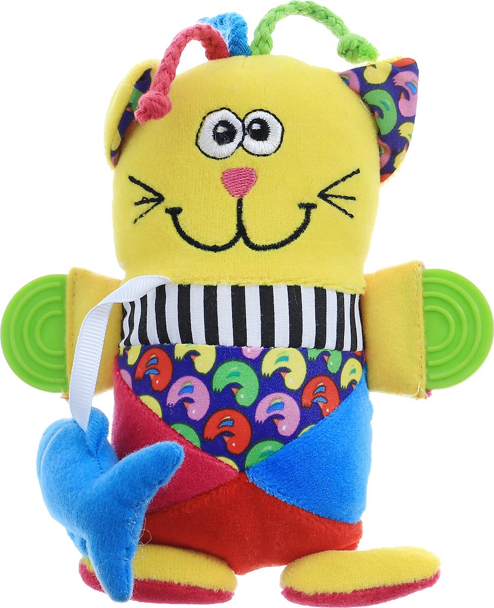 Bondibon Погремушка КотВВ1285Яркая погремушка Bondibon Кот привлечет внимание малыша и не позволит ему скучать. Погремушка выполнена из высококачественных и гипоаллергенных материалов: текстиль разной фактуры и мягкий наполнитель, что делает ее абсолютно безопасной в игре. При потряхивании игрушки раздается негромкий звук, а нажав на игрушку, малыш услышит забавный писк. На двух лапках кота располагаются безопасные прорезыватели, которые помогут ребенку в момент, когда у него режутся зубы. Мягкая погремушка способствует развитию мышления, координации движений, звукового и цветового восприятия, тактильных ощущений, совершенствует моторику ручек малыша. Ваш малыш обязательно полюбит игрушку, а игры с ней будут не только увлекательными, но и полезными для его развития.