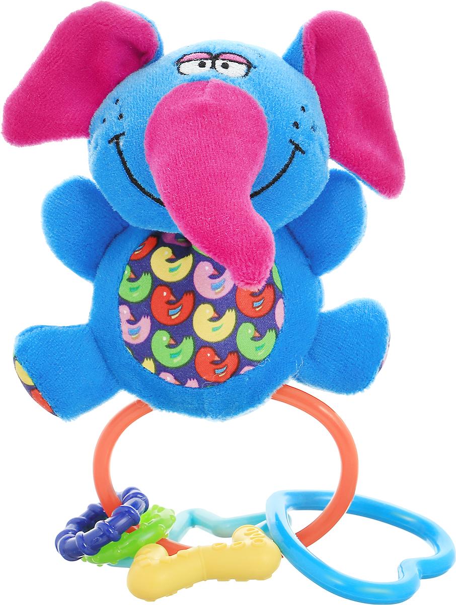 Bondibon Погремушка Слон цвет синийВВ1299_синийМягкая погремушка Слон не оставит вашего малыша равнодушным и не позволит ему скучать. Игрушка выполнена из высококачественных текстильных материалов и мягкого наполнителя. Внутри ушек спрятаны шуршащие элементы. Игрушка дополнена пластиковым кольцом, на котором размещены четыре ярких прорезывателя. Рельефные прорезыватели выполнены из пластика разных цветов. Яркая игрушка формирует тактильные ощущения, восприятие звуков, цветов и форм. В процессе игры развивается мелкая моторика и воображение вашего ребенка.