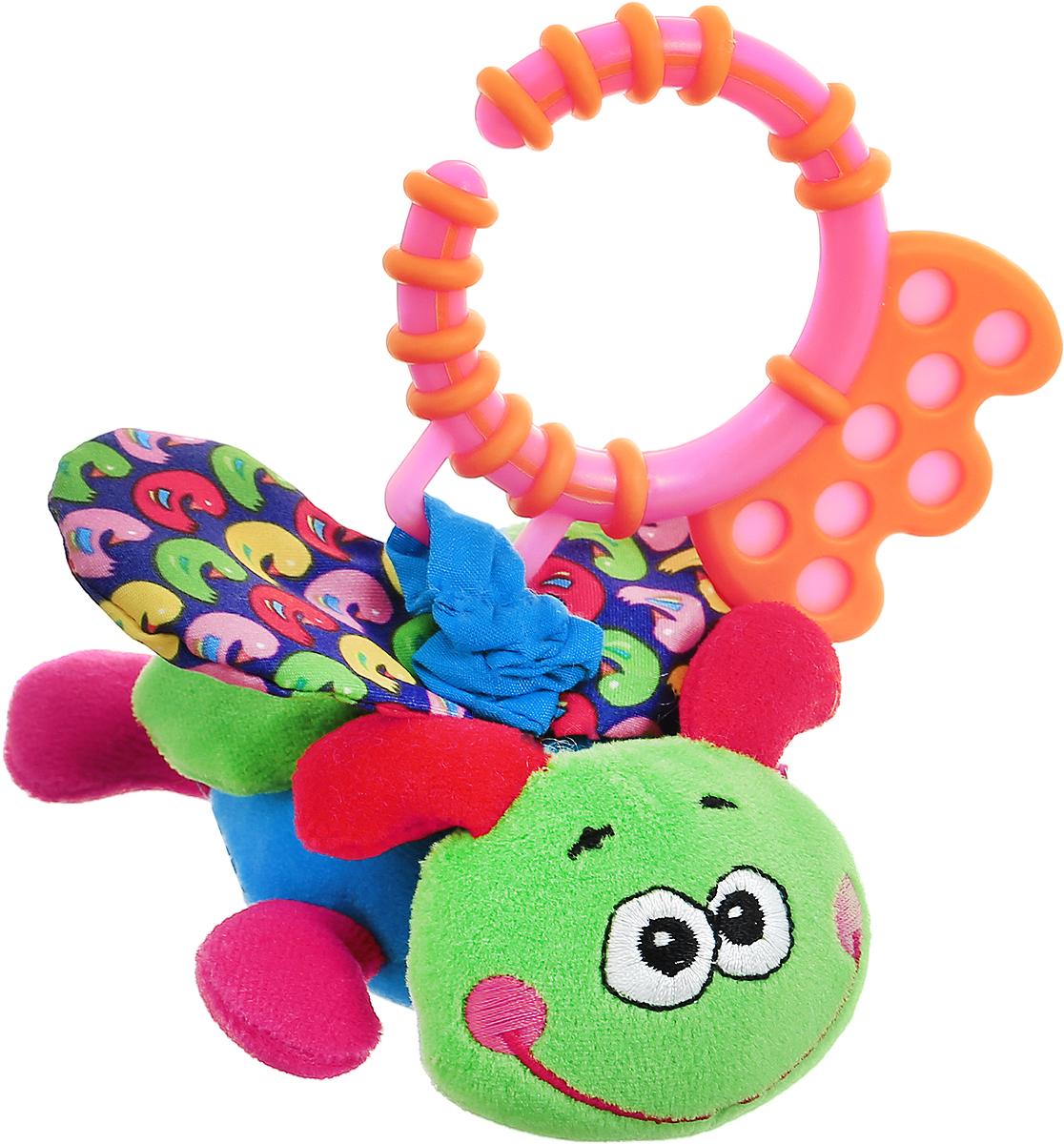 Bondibon Игрушка-подвеска Стрекоза цвет зеленый синийВВ1297_зеленый/синийМягкая игрушка-подвеска Стрекоза изготовлена из ярких материалов разной фактуры. Как же весело и интересно ее рассматривать! Но держать ее в маленьких ручках еще интереснее, ведь она таит в себе столько приятных сюрпризов и удивительных открытий! Игрушка представляет собой симпатичное насекомое на веревочке-растяжке. Веревочка с игрушкой способна растягиваться и сжиматься. При сжатии веревочки, игрушка забавно вибрирует. Внутри крылышек спрятаны шуршащие элементы. В голове стрекозы имеется элемент погремушки. Стрекозу можно использовать в качестве подвески над кроваткой или коляской, подвесив за практичное незамкнутое пластиковое кольцо. Яркая игрушка формирует тактильные ощущения, восприятие звуков, цветов и форм. В процессе игры развивается мелкая моторика и воображение вашего ребенка.