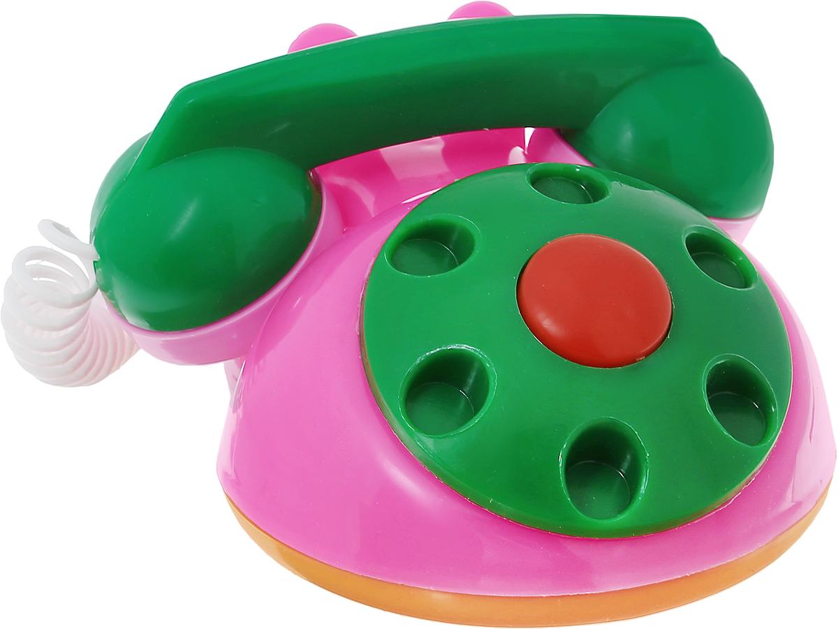 Аэлита Детский телефон цвет розовый зеленый2С454_розовый, зеленыйЯркий детский телефон Аэлита не оставит вашего малыша равнодушным и не позволит ему скучать! Игрушка представляет собой старинный дисковый аппарат с пружинным проводом, идущим к трубке. Небольшая трубка очень удобна для детских рук. Диск крутится с мелодичным звоном, пружинный провод легко растягивается и собирается обратно. Яркие цвета игрушки направлены на развитие мыслительной деятельности, цветового восприятия, тактильных ощущений и мелкой моторики рук ребенка, а звуковой элемент набора номера на телефоне способствует развитию слуха.
