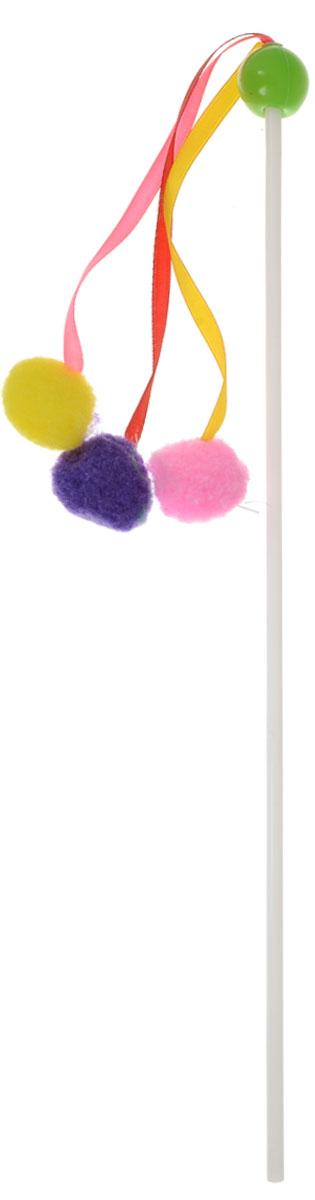 Игрушка для кошек Zoobaloo Дразнилка карусель, цвет: салатовый, длина 56 см107_салатовыйИгрушка для кошек Zoobaloo Дразнилка карусель выполнена из пластикового стержня с тремя подвешенными на атласных лентах мягкими разноцветными шариками. Дразнилка превосходно развивает охотничьи инстинкты вашей кошки, а также развивает моторику передних лап и когтей. Такая игрушка порадует вашего любимца, а вам доставит массу приятных эмоций, ведь наблюдать за игрой всегда интересно и приятно. Длина стержня: 35 см. Общая длина игрушки: 56 см. Уважаемые клиенты, обращаем ваше внимание, что цвет помпонов в ассортименте и может меняться в зависимости от прихода на склад.