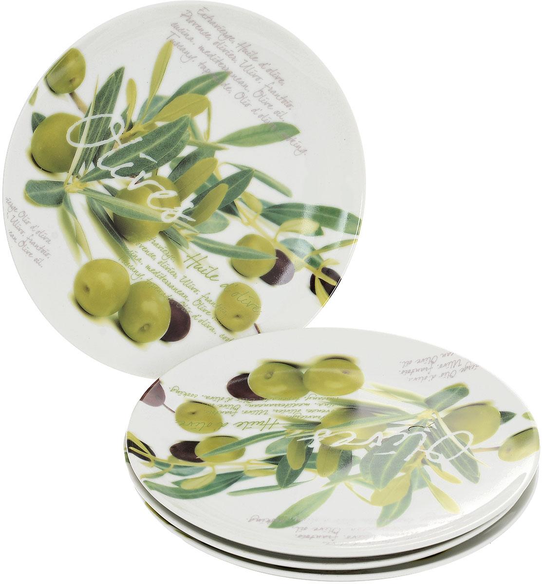 Набор тарелок Nuova R2S Оливки, диаметр 20 см, 4 шт714OVSНабор Nuova R2S Оливки состоит из четырех тарелок, выполненных из высококачественного фарфора. Изделия декорированы красочными изображением оливок. Такой набор изящно украсит сервировку стола и порадует вас дизайном.