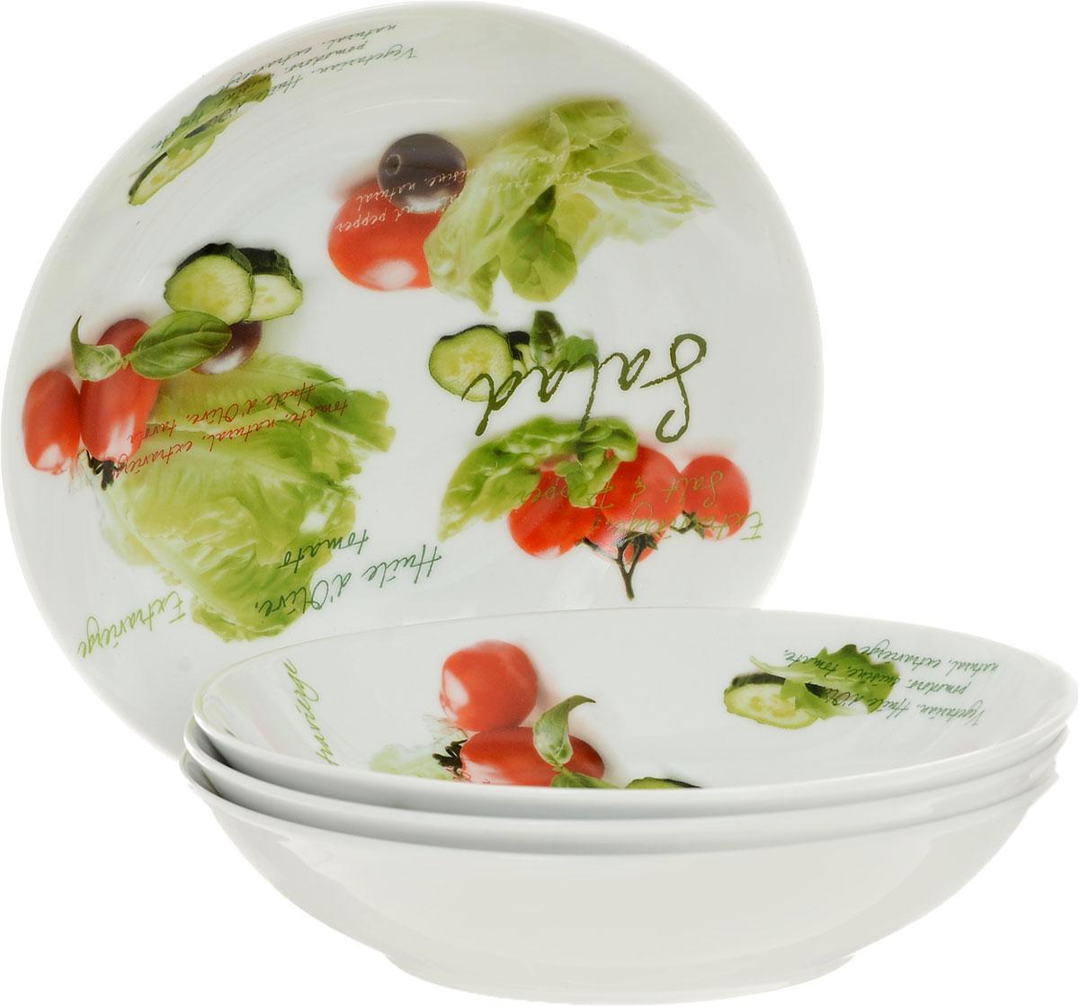 Набор глубоких тарелок Nuova R2S Салат, диаметр 20 см, 4 шт711SLDНабор Nuova R2S Салат состоит из четырех глубоких тарелок, выполненных из высококачественного фарфора. Изделия декорированы красочным изображением овощей. Такой набор украсит сервировку стола и порадует вас дизайном.
