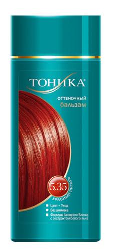 Тоника Оттеночный бальзам 5.35 Красный янтарь, 150 мл6112Красивые и здоровые волосы- важный элемент имиджа! Для экстравагантных и смелых людей, для тех, кто хочет быть в центре внимания прекрасно подойдет оттенок Красный янтарь! Подходит для светло-русых, русых и темно-русых волос Не содержит спирт, аммиак и перекись водорода Содержит уникальный экстракт белого льна Красивый оттенок + дополнительный уход Стойкий цвет без вреда для волос