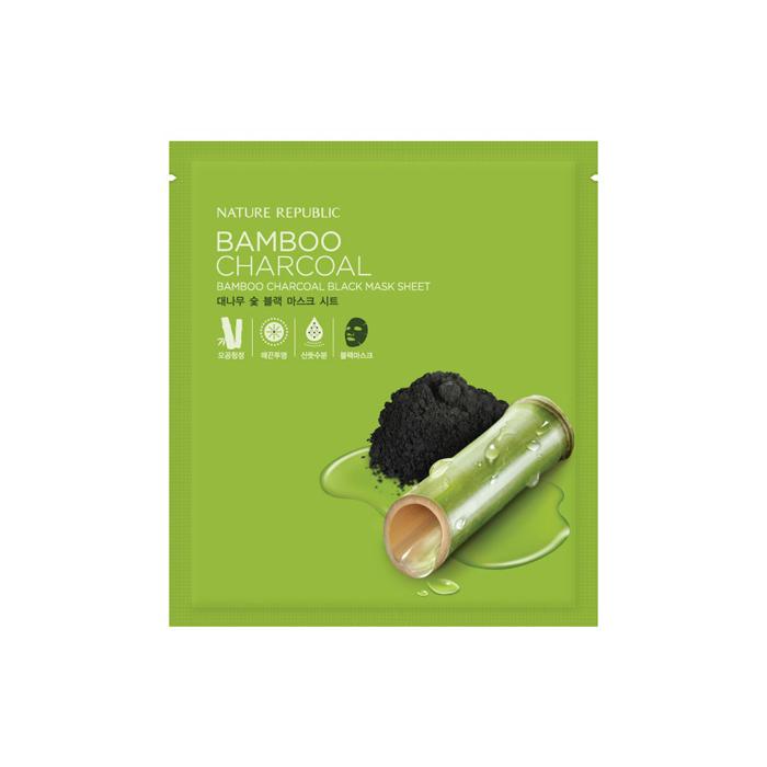 Nature Republic Черная маска с угольным порошком бамбука Bamboo Charcoal Black Mask Sheet, 27 мл424344Тканевая маска содержит древесный угольный порошок, экстракт шиповника, экстракт портулака. Контролирует работу сальных желез, способствует сужению пор, поддерживает оптимальный гидро-липидный баланс. Способствует сохранению чистоты кожи. Древесный уголь устраняет излишки себума и котнролирует его дальнейшее появление обмена. Сыворотка маски проникает глубоко в кожу, выводит токсины, регулирует деятельность сальных желез, оказывает расслабляющее действие. Замедляет окислительный процесс, который является основной причиной старения кожи. Не содержит искусственных красителей, ароматизаторов, бензофенона, минеральных масел.