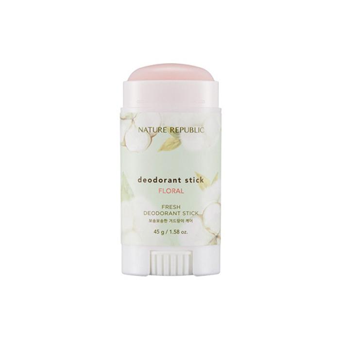 Nature Republic Дезодорант-стик Fresh Deodorant Stick Floral, 45 гр433155Эффективный дезодорант-стик содержит ксилит, экстракт алое вера и цветочные экстракты. Обладает успокаивающим действием, предотвращает появление пота, благодаря ксилиту, длительное время поддерживает свежесть кожи. Оказывает охлаждающее действие.