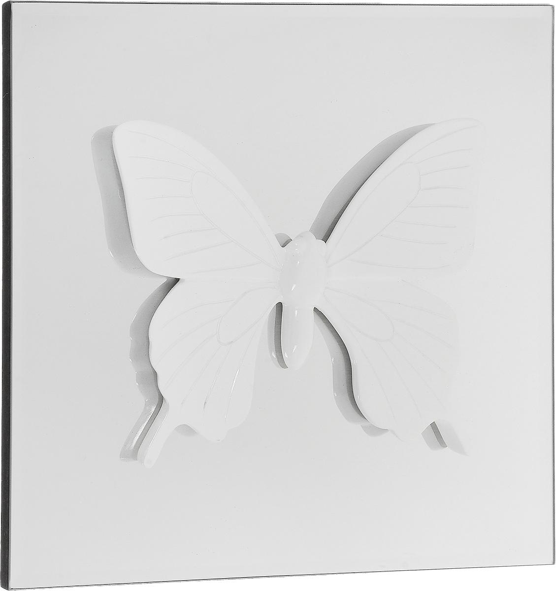 Украшение декоративное Феникс-Презент Бабочка, настенное, 30 x 30 x 2,5 см44067Настенное украшение Феникс-Презент Бабочка изготовлено из основы МДФ и зеркального стекла, декоративный элемент выполнен из полирезина в виде бабочки. Для удобства размещения изделие оснащено металлической петелькой для подвешивания. Такое украшение не только подчеркнет ваш изысканный вкус, но и прекрасным подарком, который обязательно порадует получателя.