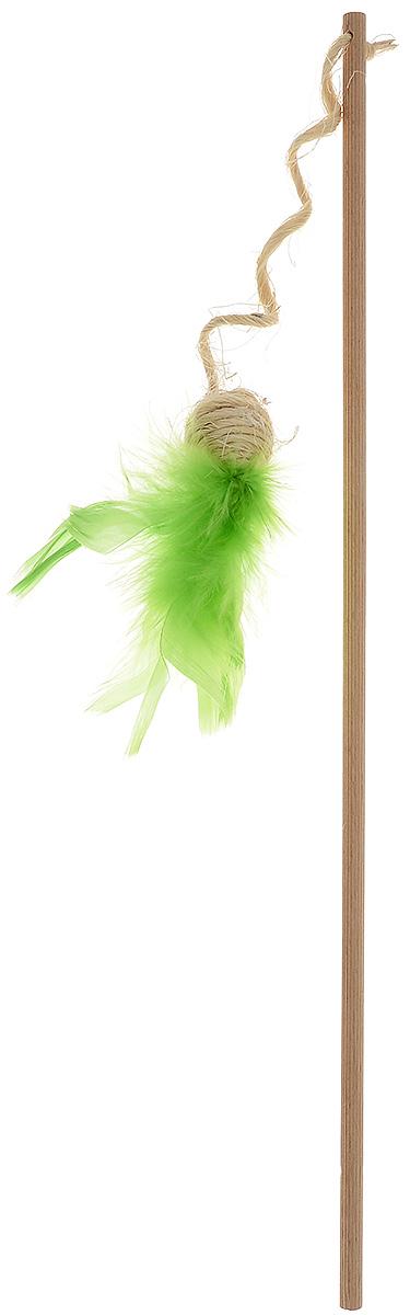 Игрушка для кошек Zoobaloo Удочка - шарик с пером, цвет: салатовый137_салатовыйИгрушка для кошек Удочка - шарик с пером выполнена из бамбукового стержня с подвешенным на сизале шариком, который украшают разноцветные перья. Дразнилка превосходно развивает охотничьи инстинкты вашей кошки, а также развивает моторику передних лап и когтей. Такая игрушка порадует вашего любимца, а вам доставит массу приятных эмоций, ведь наблюдать за игрой всегда интересно и приятно. Длина игрушки: 32 см. Длина стержня: 44 см. Уважаемые клиенты! Обращаем ваше внимание на возможные изменения в размере игрушки, связанные с ассортиментом продукции. Поставка осуществляется в зависимости от наличия на складе.