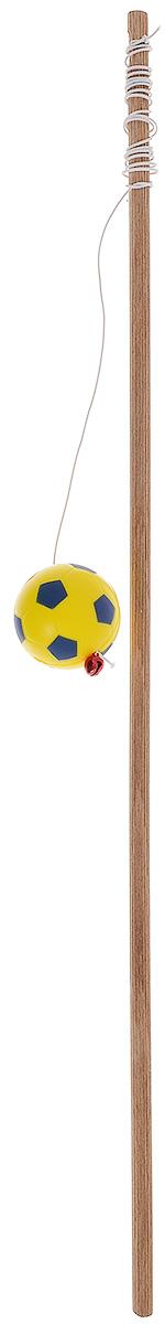 Игрушка для кошек Zoobaloo Удочка бамбук футбольный мячик, цвет: желтый, 1м132_желтыйИгрушка для кошки Удочка бамбук меховой мячик. Эта игрушка сделана из прочного бамбукового стержня с резинкой, бубенчиком и ярким меховым шариком для забавы вашего питомца. Инстинкт охотника непременно проснется в вашем любимце, как только вы подарите ему эту игрушку!