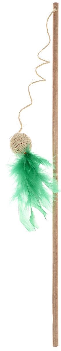 """Игрушка для кошек Zoobaloo """"Удочка - шарик с пером"""", цвет: зеленый 137"""