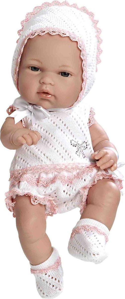 Arias Пупс цвет одежды белый розовый 33 см Т59282Т59282Изготовлено в Испании! Не так давно дизайнерам Arias удалось придать коллекции Elegance еще больше элегантности и шика, украсив наряды кукол знаменитыми стразами Swarowski! Представляем Вам эксклюзивную серию кукол Arias со стразами от Swarowski! Стразы прочно и аккуратно нанесены на наряды кукол с помощью технологии HOTFIX. В коллекции используются белые и цветные стразы, из которых выполнены различные тематические рисунки и аппликации. Куклы лимитированной коллекции со стразами Swarowski упакованы в подарочные коробки. На ручке у куклы есть ярлык со знаком качества и логотипом Swarowski, подтверждающим официальную лицензионную продукцию. Кукла размером 33см одета в белый комплект с отделкой розовым кружевом. Винил, использованный при производстве кукол, плотный и приятный на ощупь; он обработан так, что каждая складочка и морщинка выглядит очень естественно. Наряд создан из тех же материалов, что и одежда для новорожденных детей. У куклы ручки и ножки подвижны, глазки не...