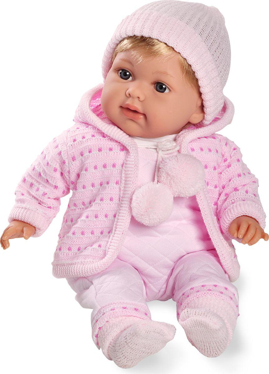 Arias Пупс озвученный 42 см Т59803Т59803Функциональный пупс Arias - очаровательная маленькая девочка, которая появилась на свет совсем недавно. Elian Rosa - настоящая копия малышки с очень милым личиком. У куклы большие темно-серые глазки и золотистые волосы. Одет пупс в нежно-розовый теплый комбинезон из мягкого флиса и кофточку в горошек с капюшоном.