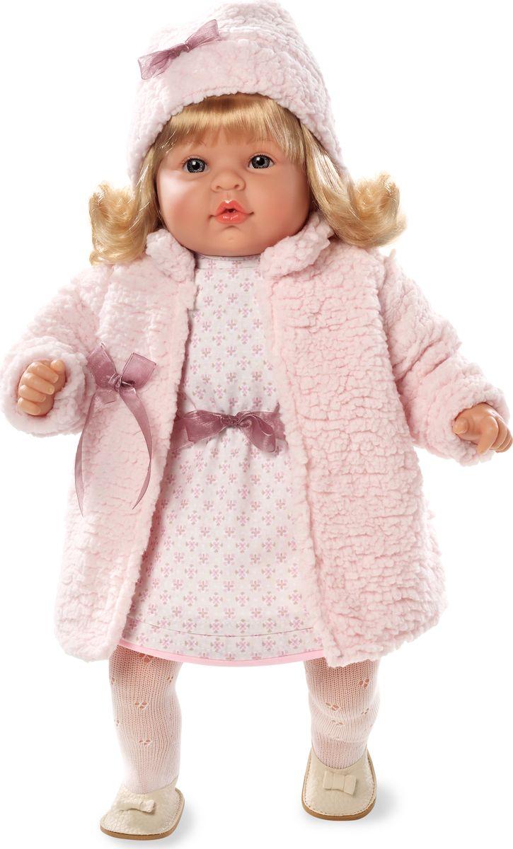 Arias Кукла в платье 50 см Т59804Т59804Изготовлено в Испании! Кукла блондинка от Arias ELEGANCE станет первой любимой куклой малыша, с которой не захочется расставаться ни на минуту. Кукла с мягким телом приятна на ощупь, ее можно переодевать, укладывать спать и гулять вместе. Если нажать на животик куклы, она засмеется. Голова, ручки и ножки выполнены из винила. Кукла с реалистичными чертами лица одета в стильный наряд в нежной цветовой гамме, состоящий из розового платья, теплого пальто, шарфика. На голове у куклы милая мягкая шапка, на ножках - туфельки. Размер игрушки 50 см.