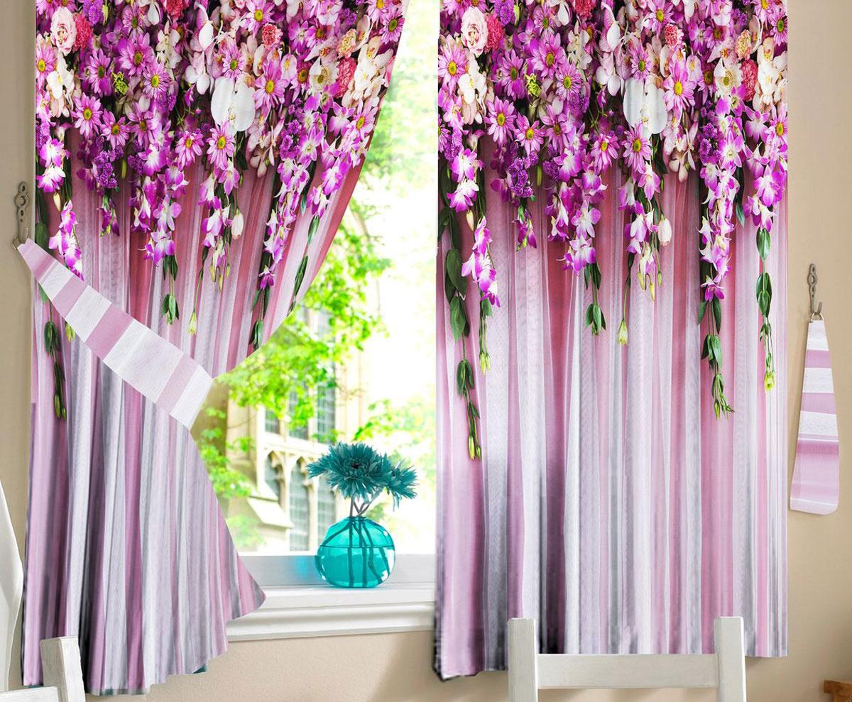 Комплект штор для кухни Zlata Korunka Ламбрекен из цвето, на ленте, высота 160 см21320