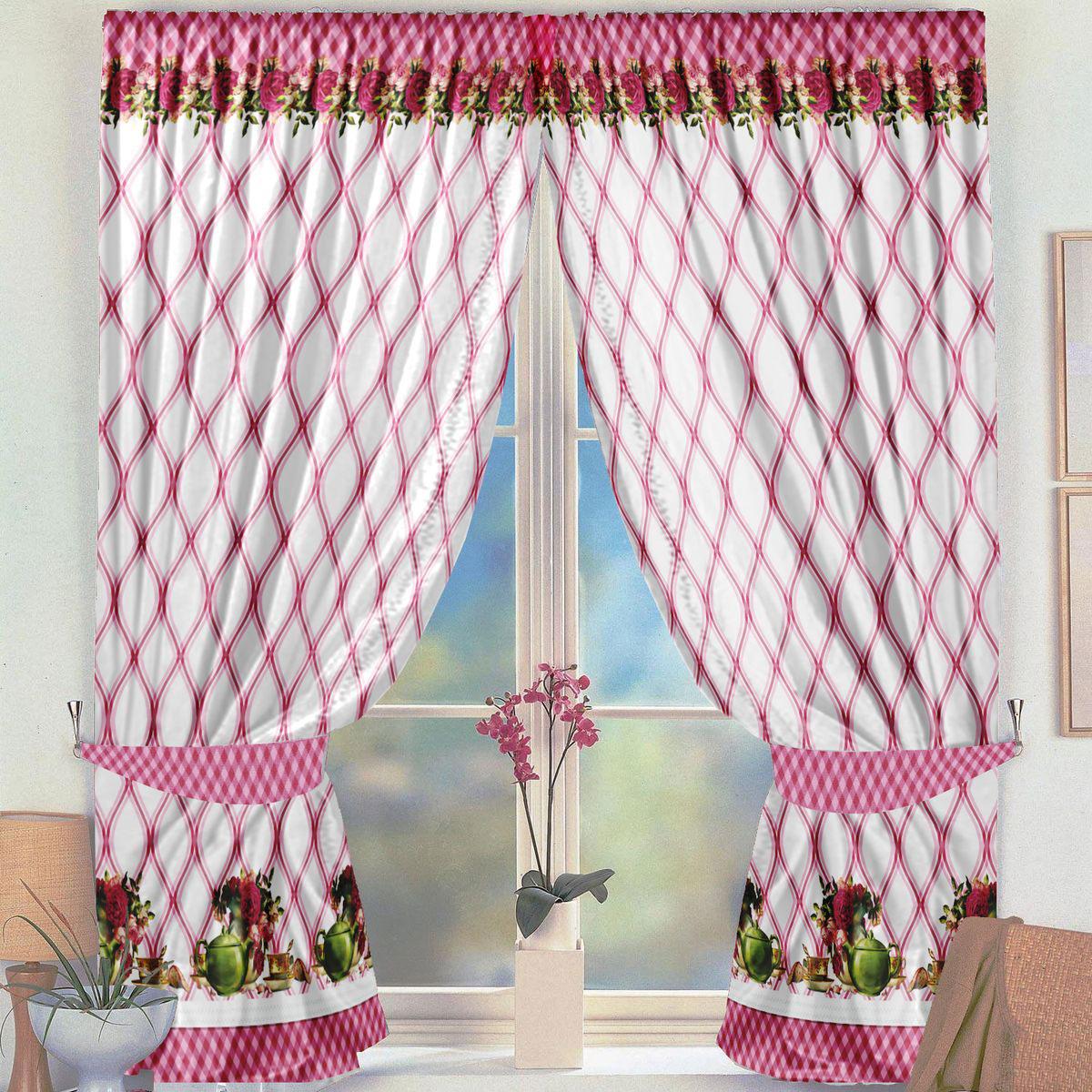 Комплект штор для кухни Zlata Korunka Фиона розовый, на ленте, высота 160 см21325