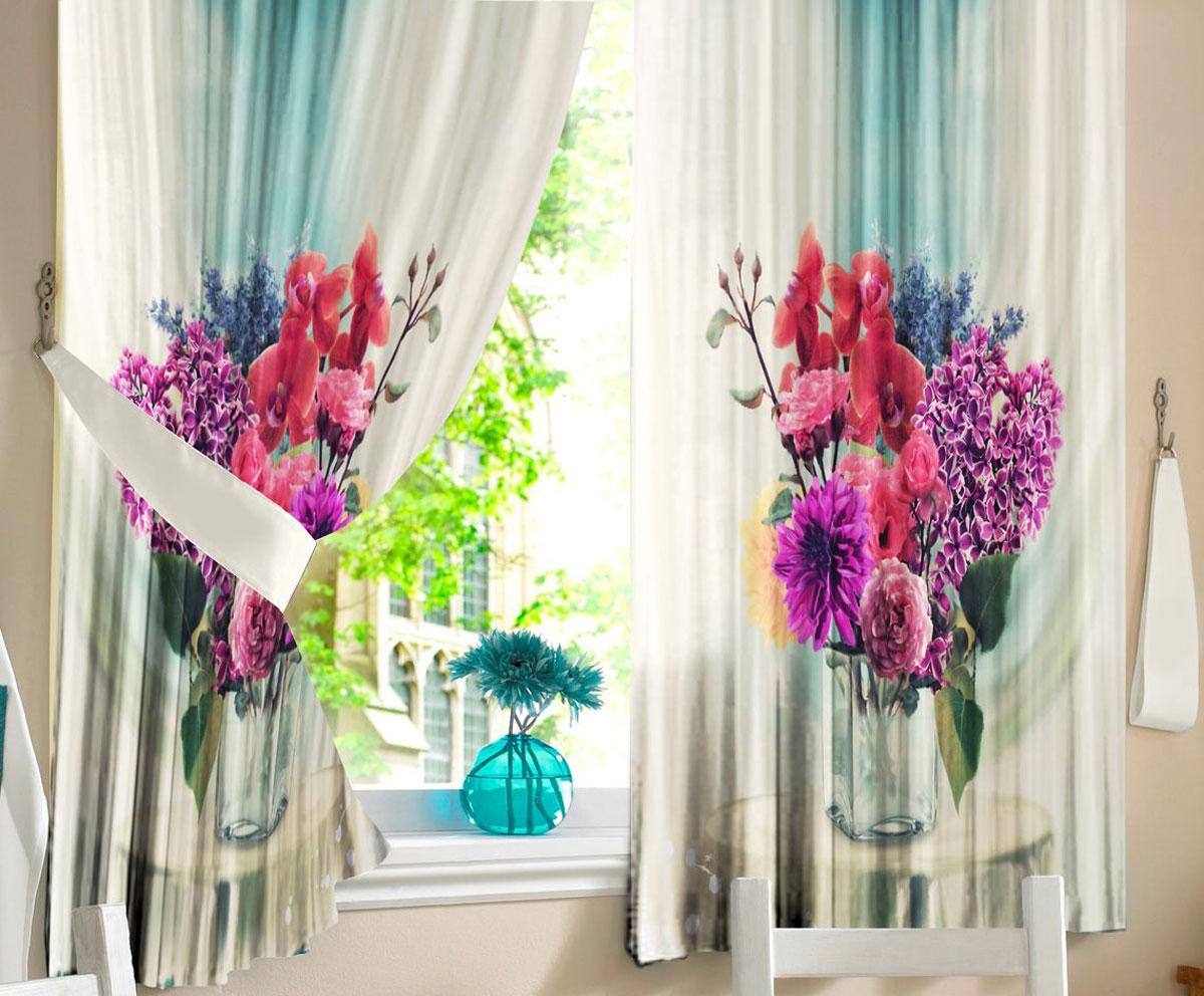 Комплект штор для кухни Zlata Korunka Цветы в вазе, на ленте, высота 160 см21327