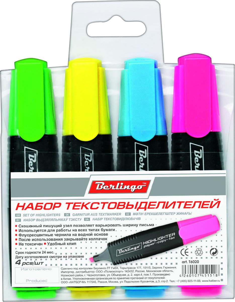 Berlingo Набор текстовыделителей Slim 4 цвета T6020T6020Набор текстовыделителей Berlingo включает в себя 4 текстовыделителя с флуоресцентными чернилами на водной основе. В наборе - 4 цвета (желтый, зеленый, синий, розовый). Толщина линии от 1 до 5 мм. Удобный клип. Цвет колпачка и торцевого элемента соответствует цвету чернил. Упаковка - прозрачный ПВХ-пенал с европодвесом.