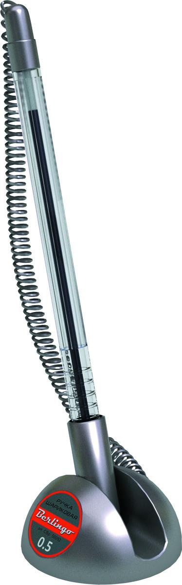 Berlingo Ручка шариковая настольная синяя CBp_50092CBp_50092Настольная шариковая ручка Berlingo с пружинкой расположена на подставке с регулируемым углом наклона для более удобного использования. Подставка ручки легко фиксируется на любой ровной поверхности с помощью клейкого основания. Диаметр пишущего узла 0,5 мм.