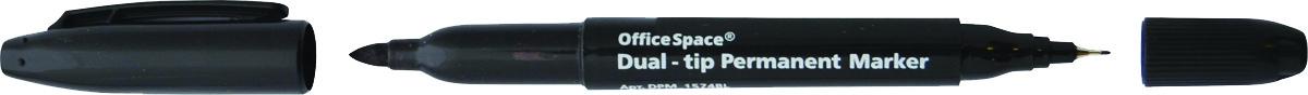 OfficeSpace Маркер перманентный двухсторонний цвет черный