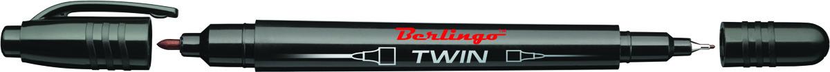Berlingo Маркер перманентный двухсторонний цвет черный