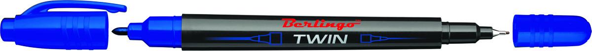 Berlingo Маркер перманентный двухсторонний цвет синий