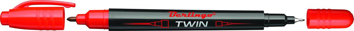 Berlingo Маркер перманентный двухсторонний цвет красный