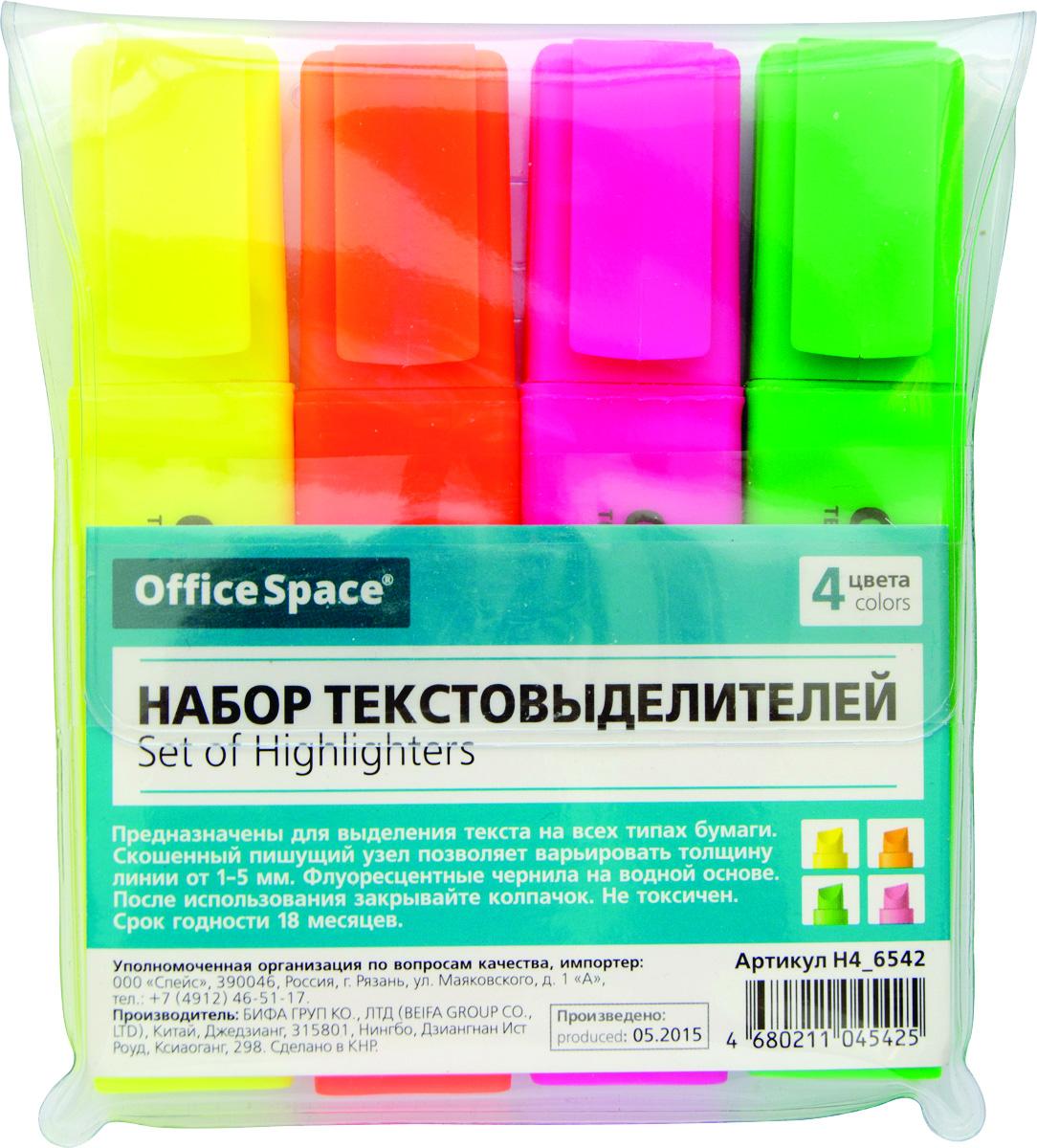 OfficeSpace Набор текстовыделителей 4 цвета H4_6542H4_6542Набор текстовыделителей OfficeSpace предназначен для выделения текста на всех типах бумаги. Толщина линии 1-4 мм. Флуоресцентные чернила на водной основе. Набор упакован в ПВХ чехол. В наборе 4 цвета: желтый, оранжевый, розовый, зеленый. Хранить с закрытым колпачком.