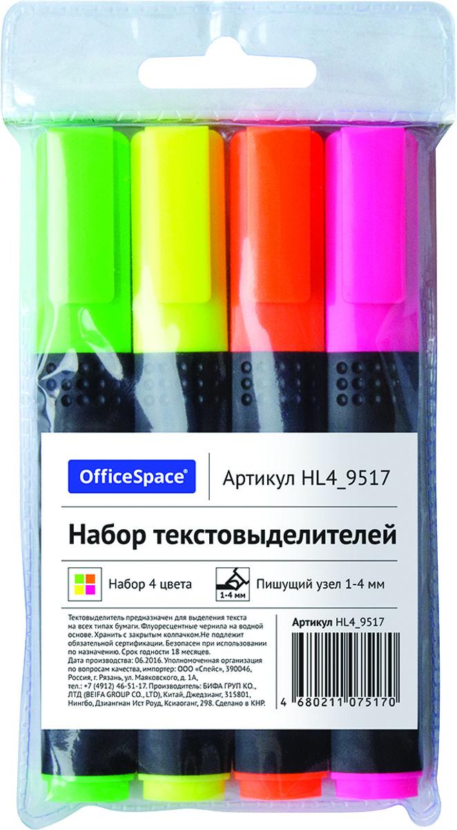 OfficeSpace Набор текстовыделителей 4 цвета HL4_9517HL4_9517Набор текстовыделителей OfficeSpace предназначен для выделения текста на всех типах бумаги. Толщина линии 1-4 мм. Флуоресцентные чернила на водной основе. Набор упакован в ПВХ чехол. В наборе 4 цвета: зеленый, розовый, оранжевый, желтый. Хранить с закрытым колпачком.