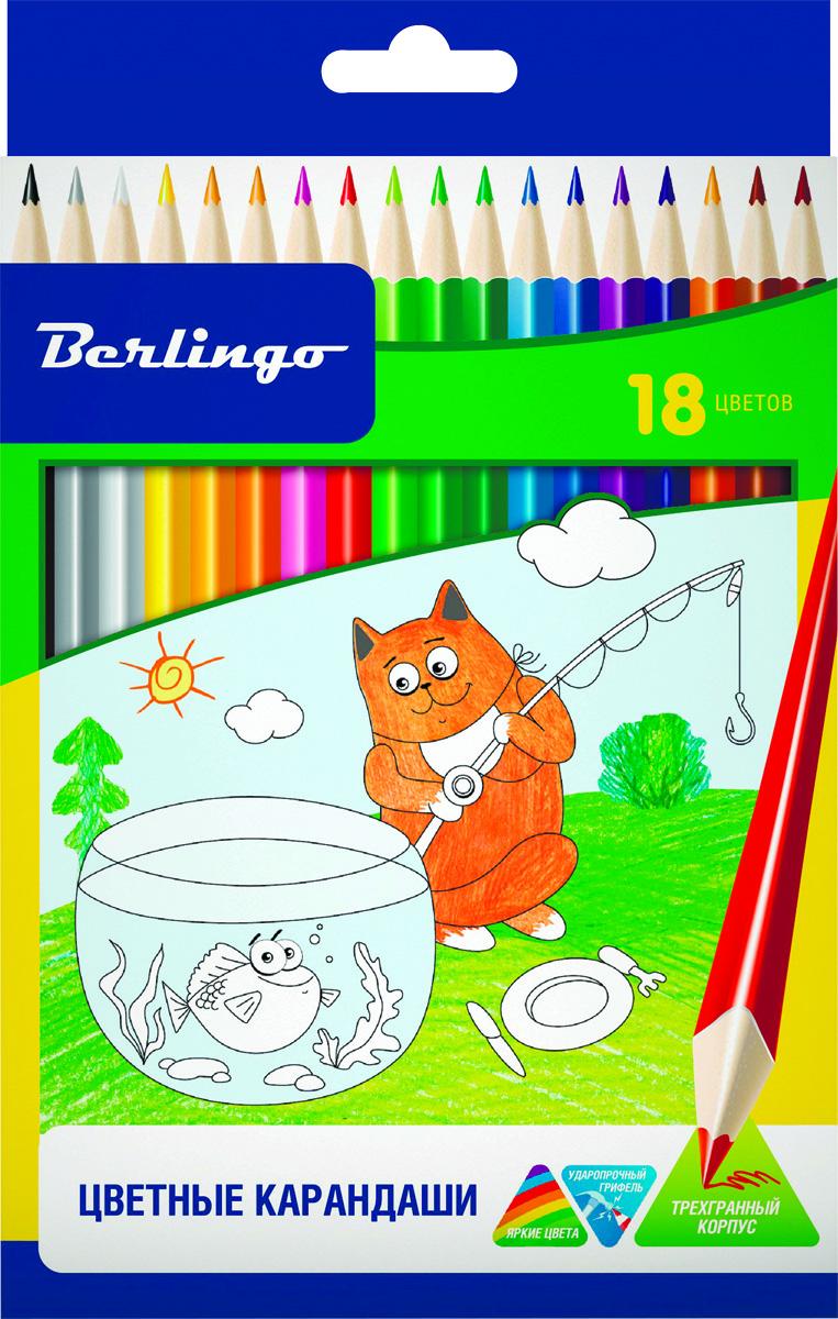 Berlingo Набор цветных карандашей Жил-был кот 18 цветовCP00518Набор цветных карандашей Berlingo Жил-был кот имеют эргономичную трехгранную форму корпуса. Карандаши с заточенным грифелем. Яркие насыщенные цвета. Мягкое письмо. Карандаши легко затачиваются.