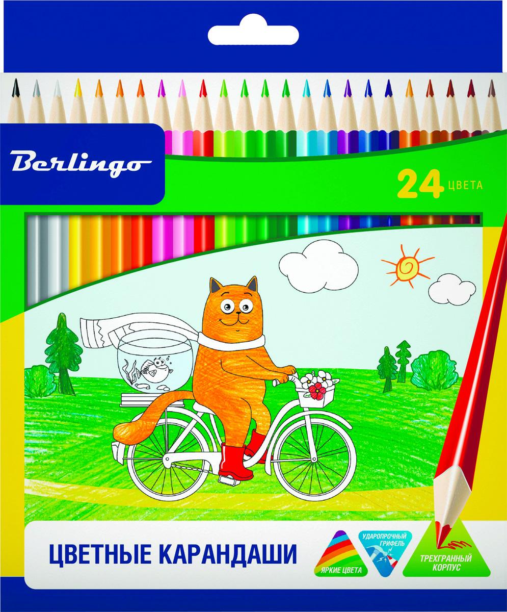Berlingo Набор цветных карандашей Жил-был кот 24 цветаCP00524Набор цветных карандашей Berlingo Жил-был кот имеют эргономичную трехгранную форму корпуса. Карандаши с заточенным грифелем. Яркие насыщенные цвета. Мягкое письмо. Карандаши легко затачиваются.