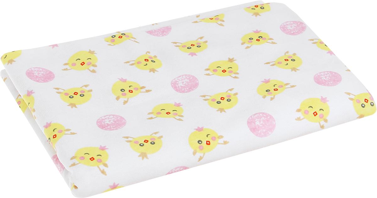 Пеленка текстильная для девочек Чудесные одежки цвет белый розовый цыпленок 5401 Размер 120 см х 90 см5401