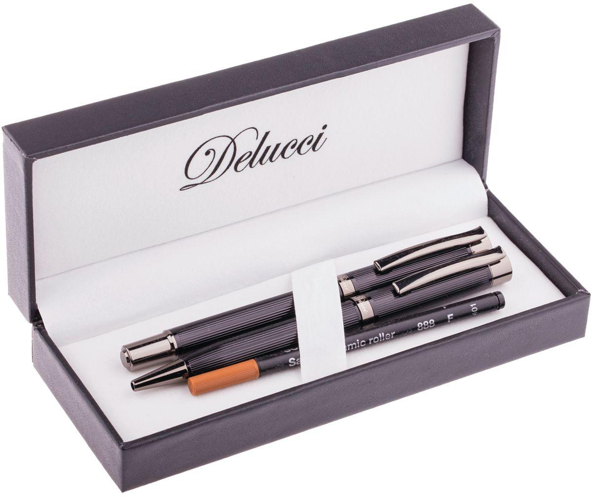 Delucci Набор ручек 2 шт CPn_08050CPn_08050Набор подарочных ручек Delucci может стать отличным сувениром партнерам, сослуживцам и друзьям. Ручки удобно лежат в руке, не выскальзывают, пишут мягко. В набор входят ручка-роллер и шариковая ручка. Корпусы ручек изготовлены из металла.