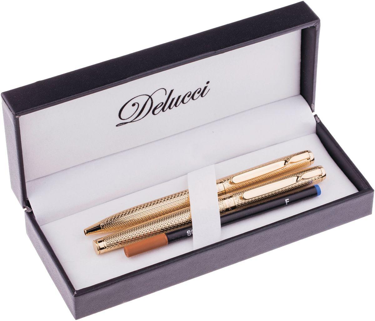 Delucci Набор ручек цвет синий CPn_11914CPn_11914Изысканный подарочный набор Delucci в оригинальной упаковке: шариковая ручка , диаметр пишущего узла - 1,0 мм и ручка роллер, диаметр пишущего узла - 0,6 мм. Цвет корпуса и отделка золотистого цвета, с рифлением. Изящная гравировка.