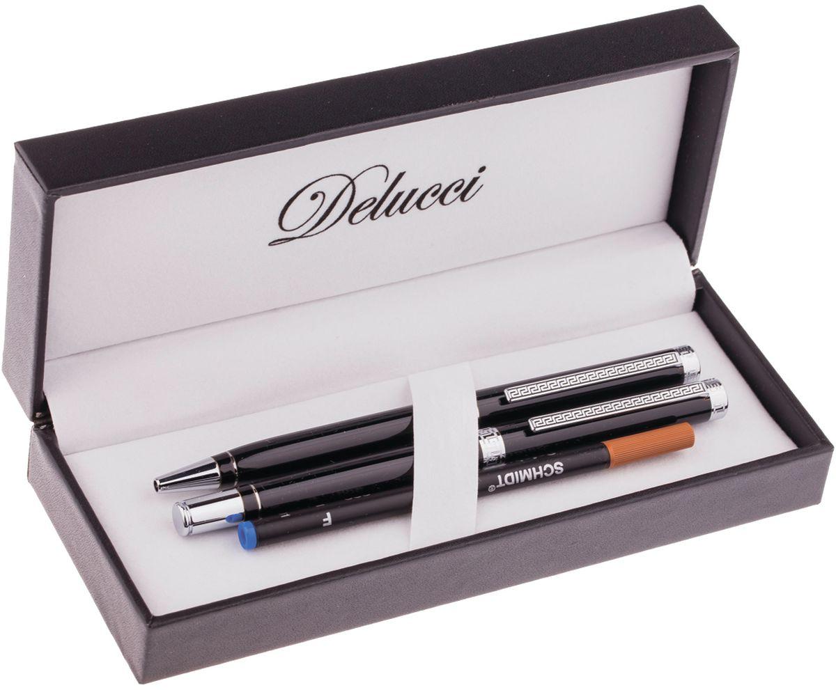 Delucci Набор ручек 2 шт CPn_12029CPn_12029Набор подарочных ручек Delucci может стать отличным сувениром партнерам, сослуживцам и друзьям. Ручки удобно лежат в руке, не выскальзывают, пишут мягко. В набор входят шариковая ручка (диаметр пишущего узла - 1 мм) и ручка-роллер (диаметр пишущего узла - 0,6 мм). Корпусы ручек изготовлены из хромированного металла.
