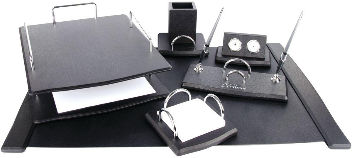 Delucci Канцелярский набор 6 предметов цвет черное деревоMBn_16210В состав набора Delucci входят: подкладка для письма, подставка для ручек (2 ручки в комплекте), подставка для бумажного блока, часы с термометром, двухуровневый лоток для бумаг, подставка для карандашей.