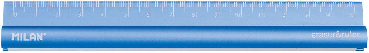 Milan Линейка с ластиком 15 см352910Металлическая линейка двухсторонняя 15 см со встроенным ластиком. Три доступных цвета: серый, синий и пурпурный