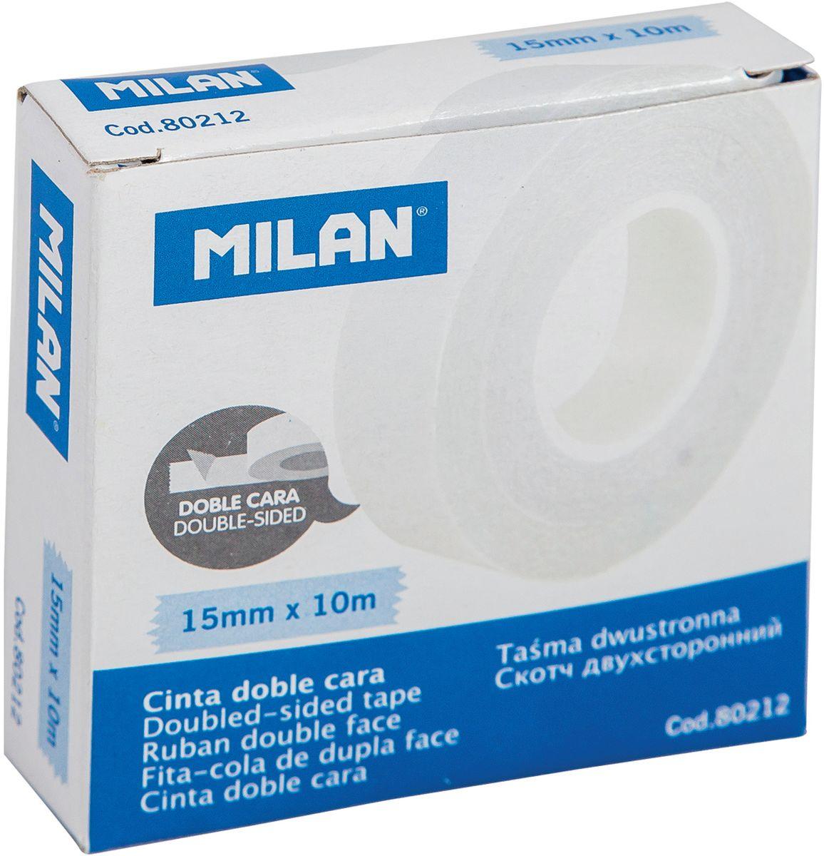 Milan Клейкая лента двусторонняя 10 м х 15 мм80212Двухсторонняя клейкая лента, прозрачная. Идеально подходит для приклеивания постеров и фотографий, а также упаковки подарков. Надежно крепит подарочную бумагу, картон, фотобумагу.