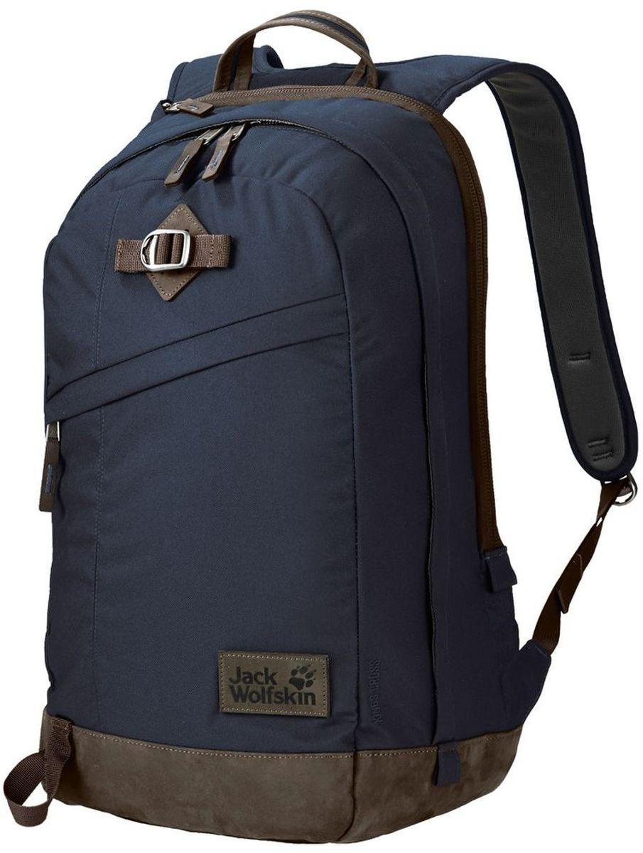 Рюкзак городской Jack Wolfskin Kings Cross, цвет: темно-синий, 24 л2003282-1010Большой многоцелевой рюкзак для ноутбука из серии Vintage (Винтаж)