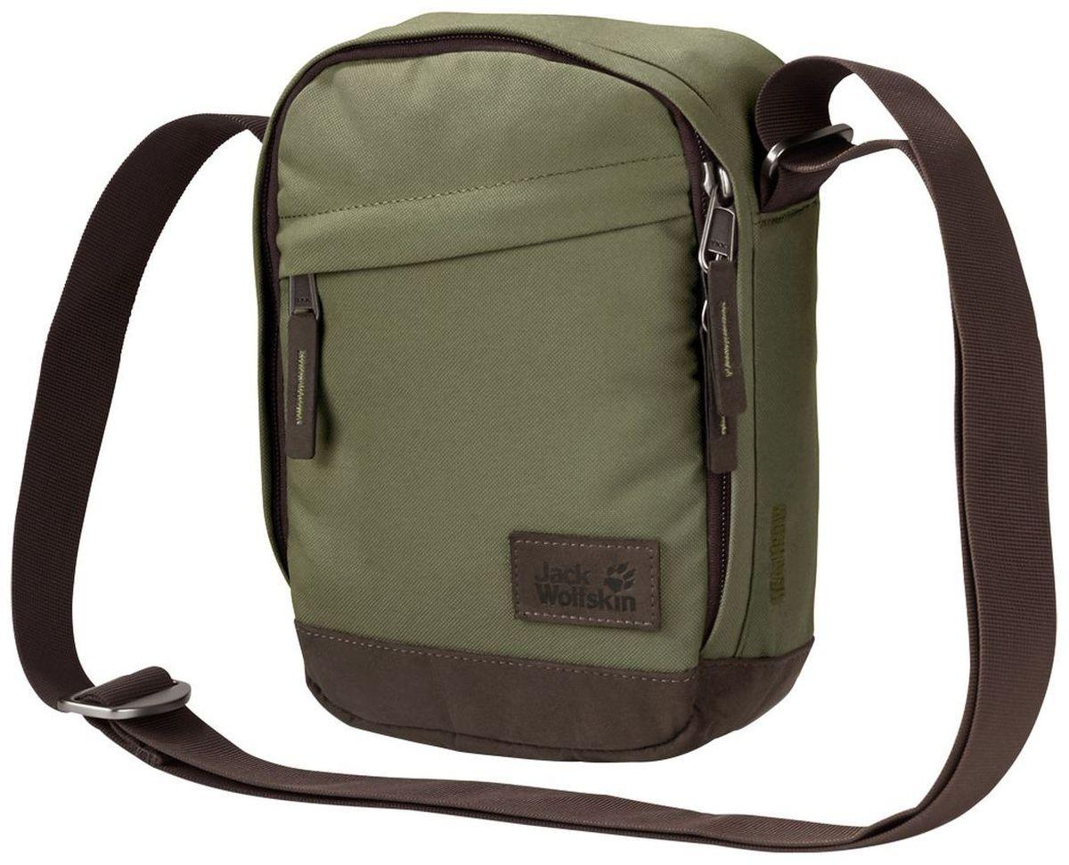 Сумка на плечо Jack Wolfskin Heathrow, цвет: хаки, 2 л2004132-4288Небольшая сумка через плечо на молнии из серии Vintage (Винтаж)