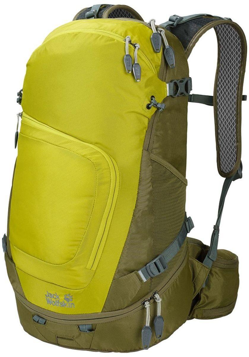 Рюкзак туристический Jack Wolfskin Crosser 26 Pack, цвет: лимонный, хаки. 2004951-42402004951-4240Универсальность для ежедневных приключений на природе, рюкзак сочетает практичные детали туристических и офисных рюкзаков и определенно подходит для обеих сфер применения. Модель многофункциональна, даже в походе ваш планшетный компьютер и все детали оснащения всегда будут под рукой. К деталям отделки относятся и отдельные крепления для трекинговых палок, светодиодного фонарика, а также отражатели и чехол от дождя. Также в рюкзаке можно безопасно переносить ноутбук, бутылку для воды или планшетный компьютер. Упаковывать рюкзак легко благодаря устойчивому дну. В переднем кармане есть органайзер.
