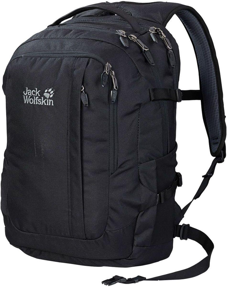 Рюкзак городской Jack Wolfskin Jack.Pot De Luxe, цвет: черный, 32 л2005231-6000Вместительный городской рюкзак с вынимающимися карманами для хранения ноутбука и комплектующих
