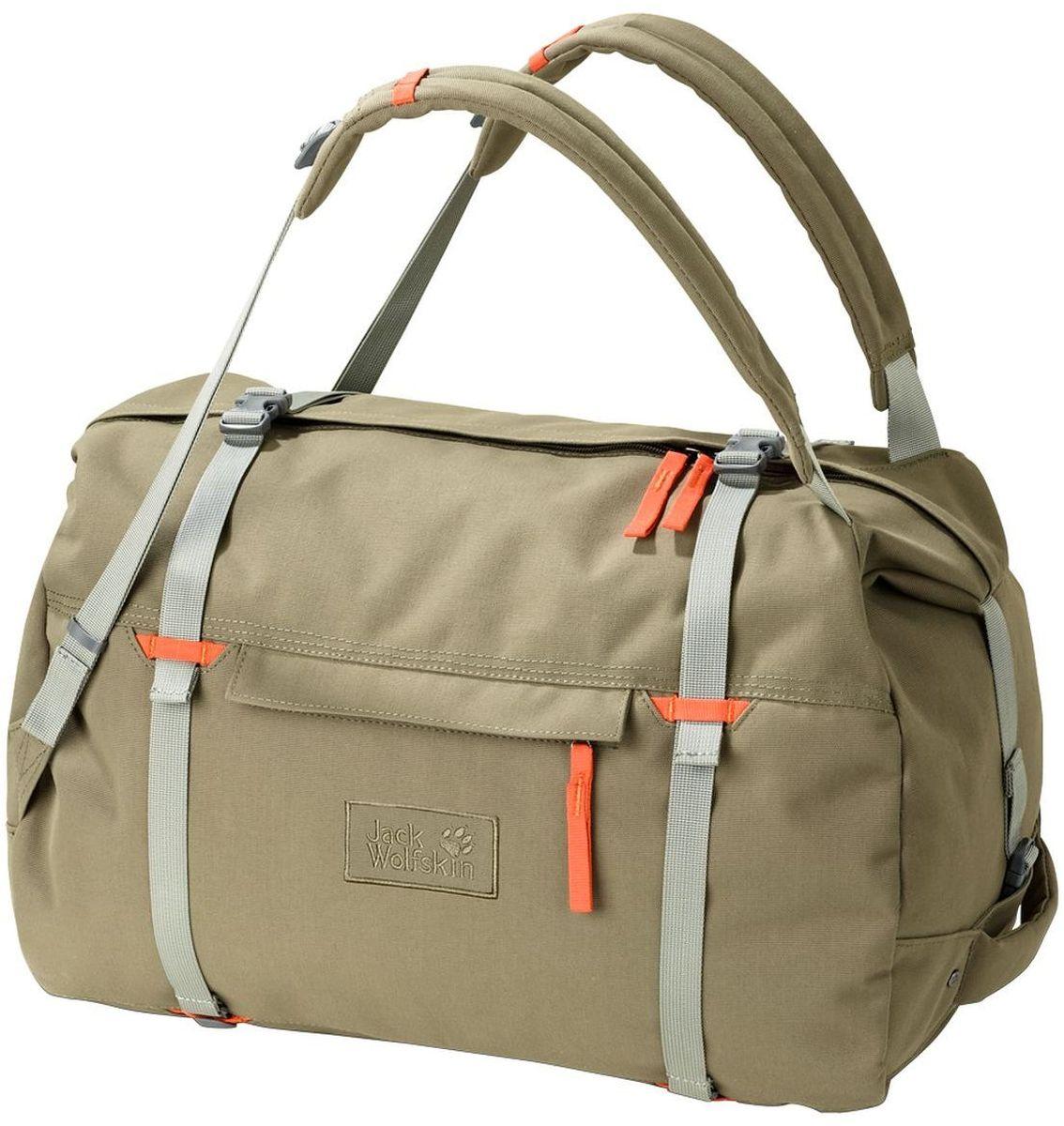 Сумка-рюкзак Jack Wolfskin Roamer 80 Duffle, цвет: бежевый. 2005451-50332005451-5033Сумка-рюкзак Jack Wolfskin Roamer 80 Duffle выполнена из полиэстер. Модель с одним отделением. Передняя стенка оформлена карманом на молнии. Очень большая и прочная сумка для путешествий с возможностью ношения как рюкзак