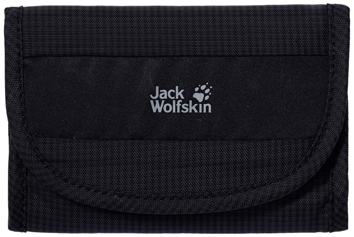 Кошелек Jack Wolfskin Cashbag Wallet Rfid, цвет: черный, 9 х 13,5 см8002281-6000Складной кошелек на липучке с защитой от нежелательного считывания RFID-кодировки