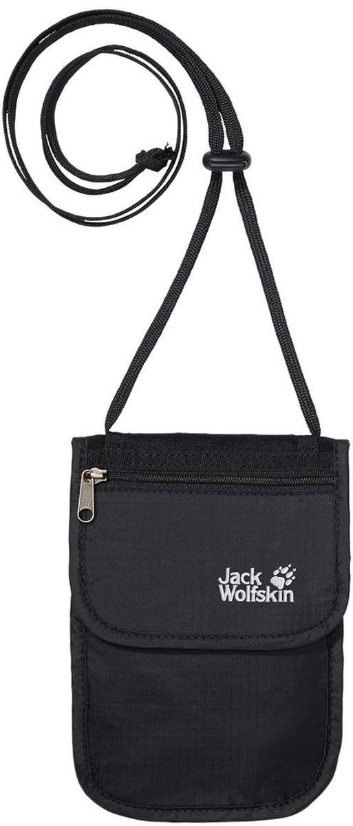 Сумка для документов Jack Wolfskin Passport Breast Pouch, цвет: черный, 18 х 12,5 л84210-600Нагрудная сумка с тремя отделениями