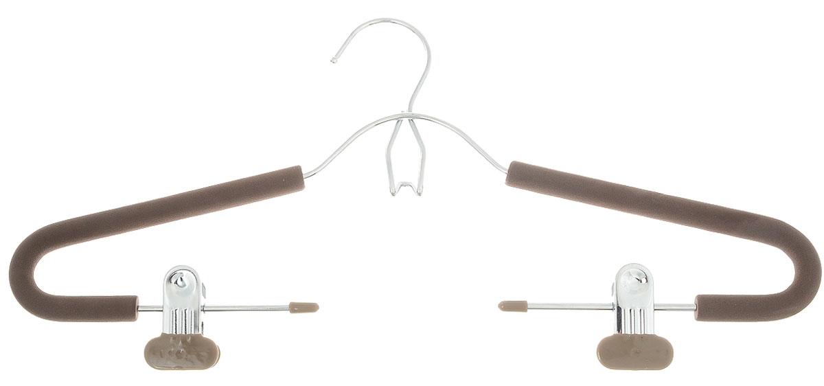 Вешалка для костюма Attribute Hanger Eva, с клипсами, цвет: кофейный, длина 42 смAHM171Вешалка для костюма Attribute Hanger Eva выполнена из металла, обтянутого поролоном. Зажимы имеют специальные накладки, чтобы не повредить ткань. Вешалка оснащена дополнительным металлическим крючком и клипсами. Длина вешалки: 42 см.