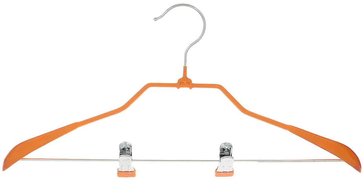 Вешалка для костюма Attribute Hanger Home, с клипсами, цвет: оранжевый, длина 45 смAHS191Вешалка для костюма Attribute Hanger Home выполнена из металла с антискользящим покрытием из ПВХ. Зажимы для брюк имеют специальные накладки, чтобы не повредить ткань. Длина вешалки: 45 см.