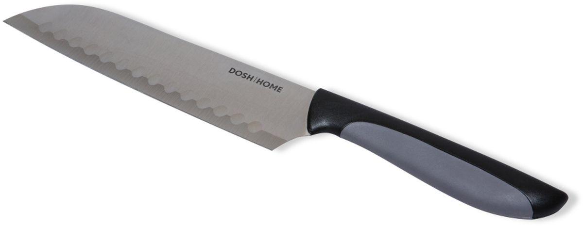 Нож сантоку Dosh l Home LYNX, длина лезвия 18 см100605Отлично подходят для легкого и точного нарезания продуктов. Двухсторонняя ребристая поверхность предотвращает прилипание пищевых продуктов к лезвию и облегчает нарезку ломтиками. У лезвия ножей идеально острая режущая кромка. Рукоятка ножа абсолютно эргономична и не скользит, за счет прорезиненной нижней части. Лезвия ножей изготовлены из ножевой стали. Для заточки используйте точилку или брусок для ножей. Толщина лезвия ножа 1,2мм. Ножи пригодны для мытья в посудомоечной машине.