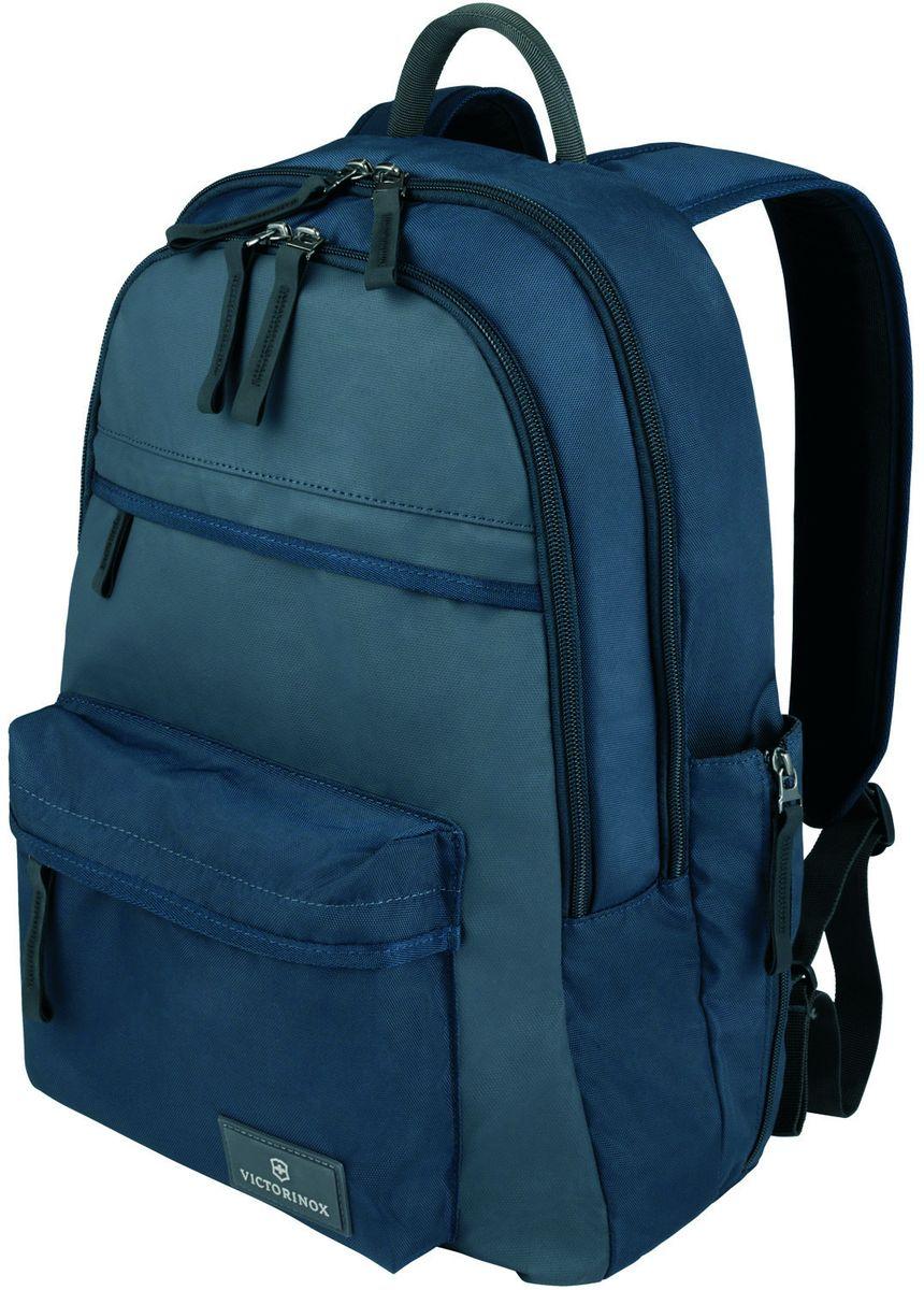Рюкзак городской Victorinox Altmont 3.0 Standard Backpack, цвет: синий, 20 л + ПОДАРОК: нож-брелок Escort32388409Индивидуальность — это то,что отличает вас от любого другого человека,с которым вы сталкиваетесь на улице,в поезде,с которым вы общаетесь в городе.Каждый день вашей жизни — это уникальный опыт,котрый никогда больше не повторится.Коллекция Almont 3.0 создавалась с рачетом на индивидульность. VICTORINOX арт. 32388409 РЮКЗАК ДЛЯ ВСЕГО САМОГО НЕОБХОДИМОГО 30x15x44 см 0,6 кг 20 л ХАРАКТЕРИСТИКИ И СВОЙСТВА • Внутренняя часть имеет двойные сетчатые карманы и двойные карманы для хранения вещей • Внешняя часть имеет два передних кармана на молнии и запатентованный боковой карман, идеально подходящий для бутылки с водой или зонтика • Мягкая задняя стенка и регулируемые плечевые ремни для максимального комфорта • Крепкая ткань корпуса Versatek™ на износостойкой нейлоновой основе плотностью 1680D